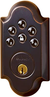 Baldwin 8252.AC1 Boulder Keyless Entry Single Cylinder Electronic Deadbolt, Distressed Oil Rubbed Bronze