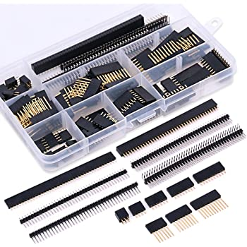Glarks 112Pcs 2.54mm Male and Female Pin Header Connector Assortment Kit, 100pcs Stackable Shield Header and 12pcs Breakaway PCB Board Pin Header for Arduino Prototype Shield