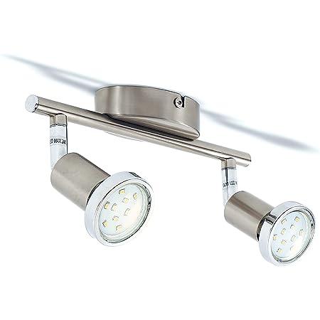B.K.Licht plafonnier LED 2 spots orientables finition nickel matte, anneaux de finition chromés, ampoule LED 3W GU10 incl, 250 Lm, lumière blanche chaude 3000K