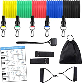 11PC Resistance Tube Band Set with Foam Handles, Ankle Straps, Door Anchor and Carry Bag | Indoor, Outdoor Multi-Function ...