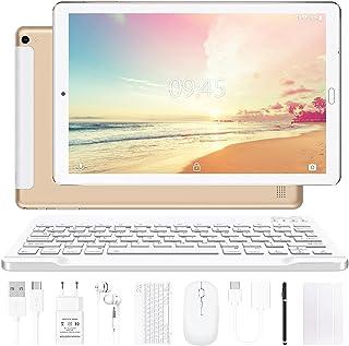 Tablette 10 Pouces YESTEL Android 10.0 Tablettes avec 4 Go de RAM + 64 Go de ROM - WiFi | Bluetooth | GPS, 8000 mAH, avec Souris | Clavier et Couverture - Or