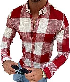 GAGA Men Lapel Casual Button Plaid Printing Long Sleeve Tops T Shirt Blouse