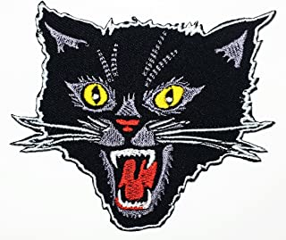 Black Screaming Cat Feral cat Animals Zoo Zombie Halloween Skull Skeleton Kid Baby Cartoon Patch Logo Jacket T-Shirt Patch DIY Applique Embroidered Sew Iron on Patch