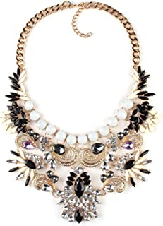 Vintage Womens Crystal Statement Maxi Pendant Accessories Chain Necklace for Party