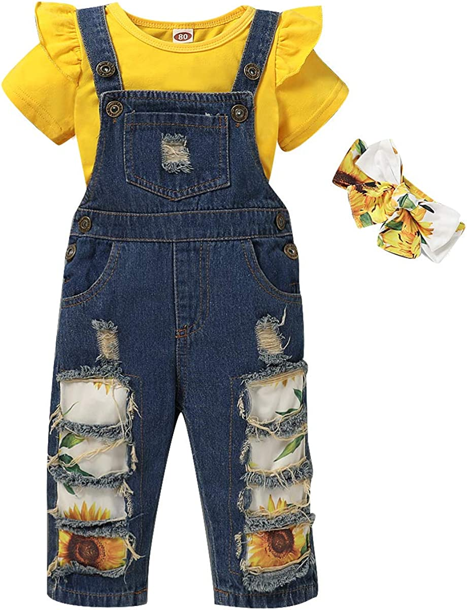 Toddler Girl Clothes,Baby Infant Little Girl Outfits Ruffle Shirt+Short Jeans Pants Summer Girls Clothing 2Pcs