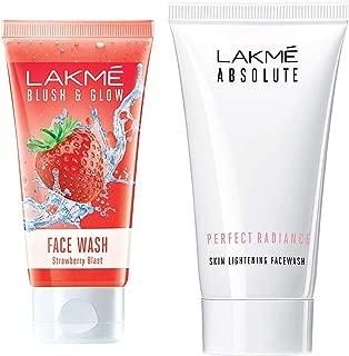 Lakmé Blush and Glow Strawberry Gel Face Wash, 100g & Lakmé Absolute Perfect Radiance Skin Lightening Facewash, 50g