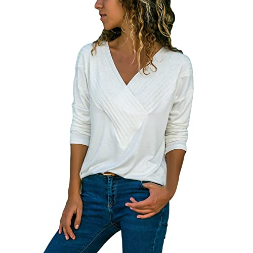 2d31839066c Womens Long Sleeve Shirts V Neck Wrap Front Solid Color Tops Blouses Tunic