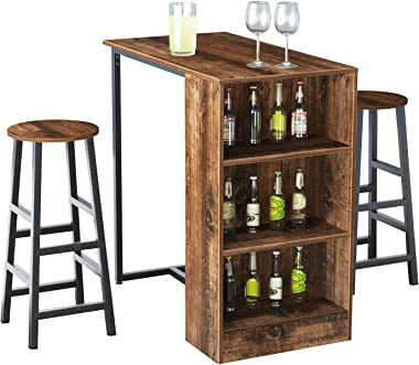 soges 35.8 Inch Kitchen Counter Height Dining Table Set Bar Table with Storage Shelve Set Pub Table Dining Table Bar Table wi