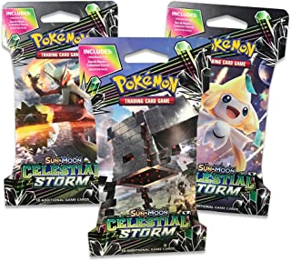 Pokemon TCG: Sun and Moon Celestial Storm – Blister Booster Pack Bundle of 3| Collectible Trading Cards | Random Booster Packs with 10 Cards | Holofoil Chance