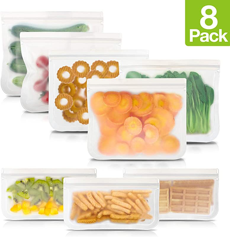 Reusable Ziploc Sandwich Snack Bags Sandwich Snack Container DOUBLE ZIPPER Utra Leakproof Extra Thick BPA Free Reusable PEVA Storage Freezer Bag Kids Food Container Eco Friendly Multipack 8 Pack
