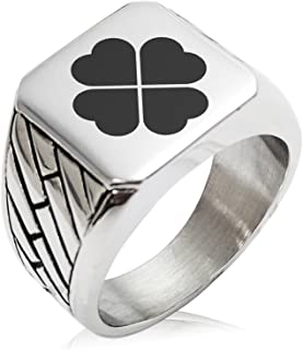 Tioneer Stainless Steel Four Leaf Clover Heart Geometric Pattern Biker Style Polished Ring