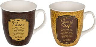 Pastor & Pastor's Wife Filigree Medallion 16 Ounce Stoneware Coffee Mugs Boxed Set of 2