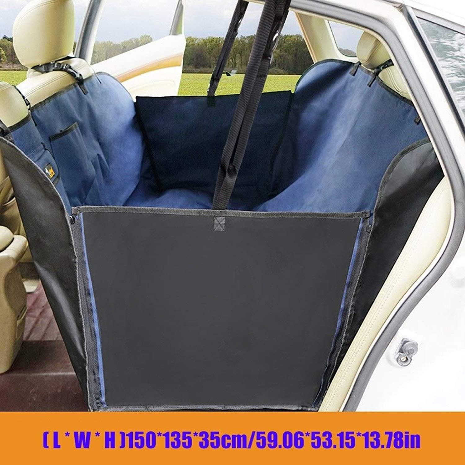 HOSHT Dog Car Seat Covers Hammock Tan, Universal for Most Cars, Trucks and SUV Pet Car Seat Cover Duty Scratch Proof Nonslip Durable Soft (color   bluee)