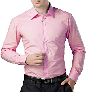 BEING FAB Men's Solid 100% Cotton Regular Fit Casual Baby Pink Shirt