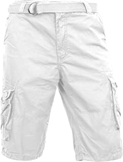 Ma Croix Mens Premium Cargo Shorts with Belt Outdoor Twill Cotton Loose Fit Multi Pocket Pants