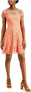 KENSIE Womens Orange Lace Floral Short Sleeve Illusion Neckline Short Fit + Flare Evening Dress AU Size:20