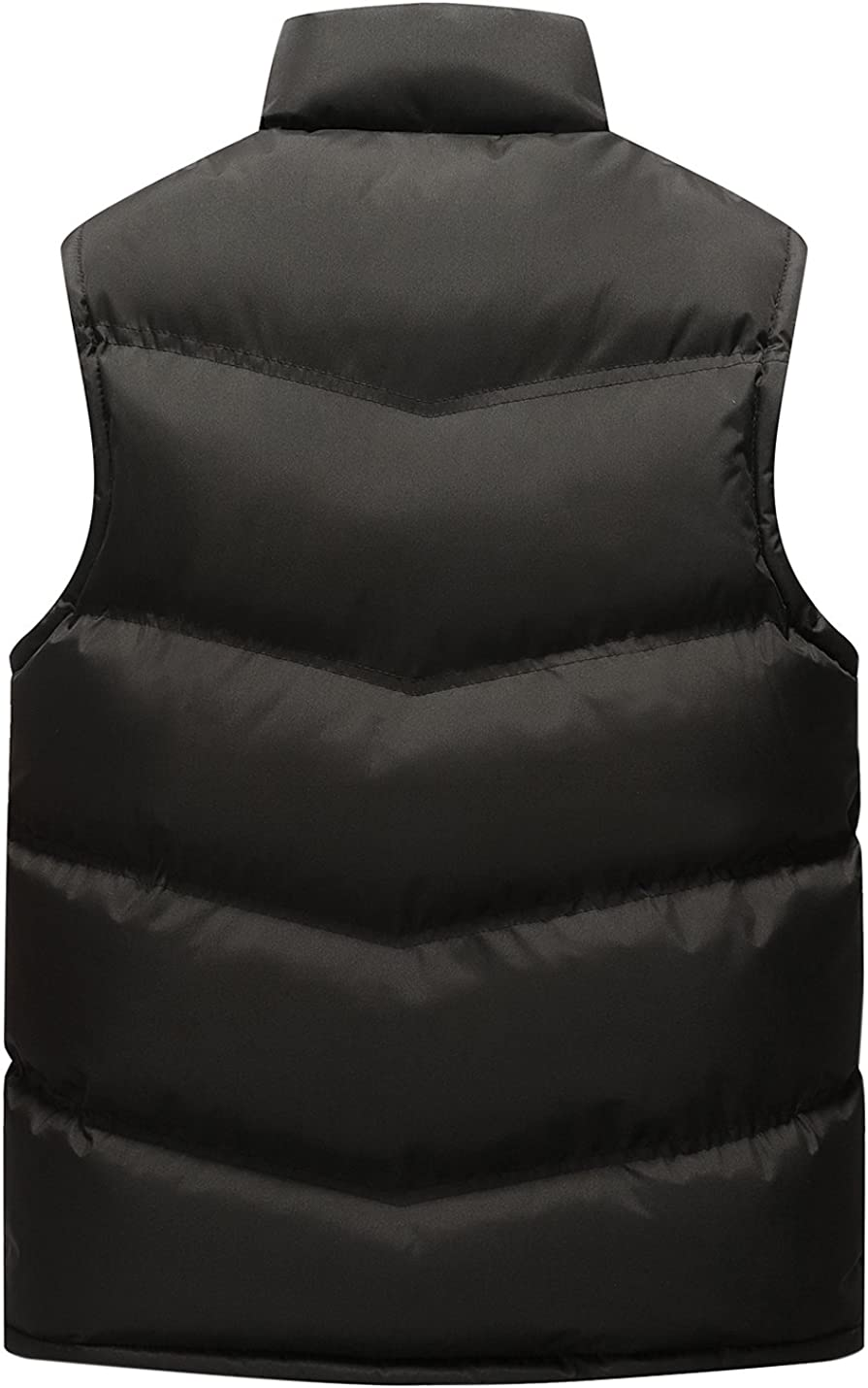 Gihuo Men's Winter Stand Collar Quilted Padding Zip Puffer Vest Warm Gilet