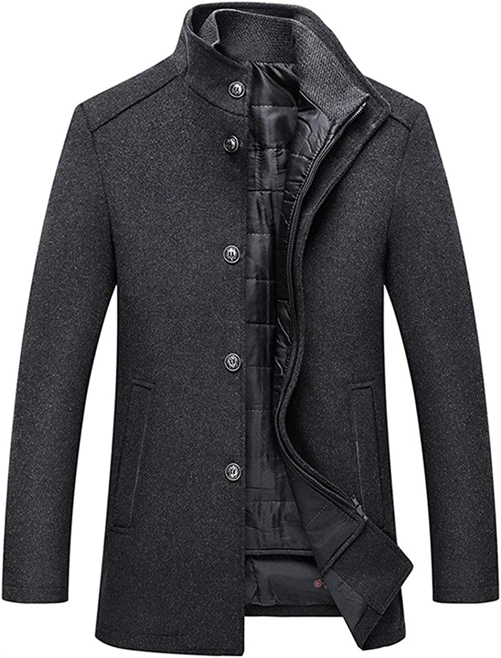 Men's Stand Collar Wool Blend Top Coat with Removable Quilted Bib Vest