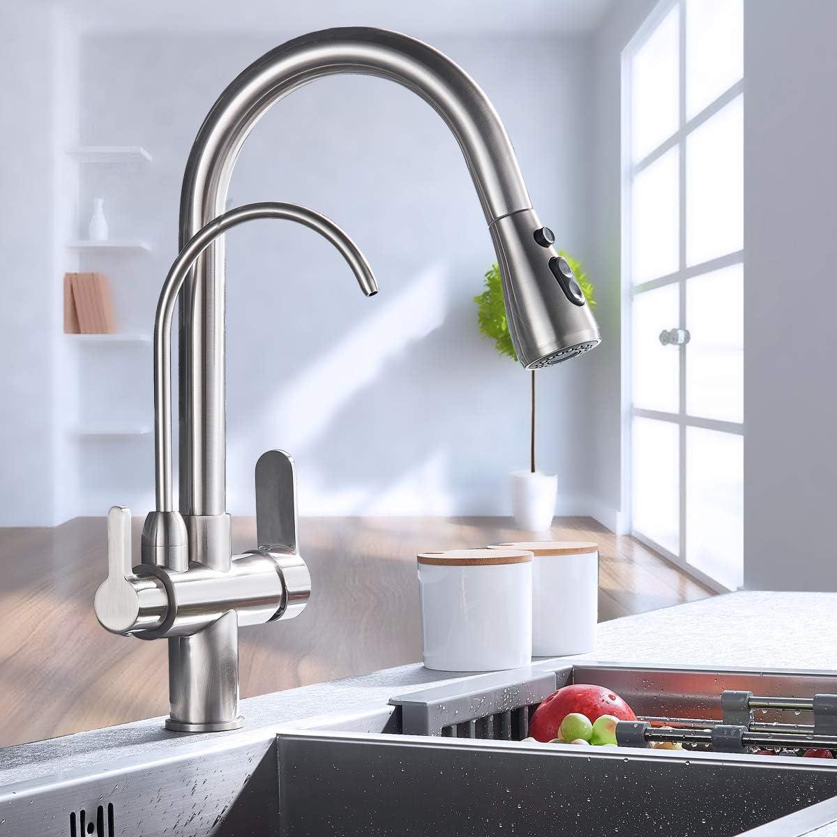 Saeuwtowy Grifo de Cocina 3 Vías Osmosis agua pura,Grifo Mezclador Cocina giratorio 360,Grifo Cocina Agua Frío y Calor disponibles,níquel cepillado