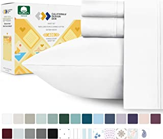 400-Thread-Count 100% Cotton Sheet Pure White Queen-Sheets Set, 4-Piece Long-staple Combed Cotton Best-Bedding Sheets For Bed, Breathable, Soft & Silky Sateen Weave Fits Mattress 16`` Deep Pocket