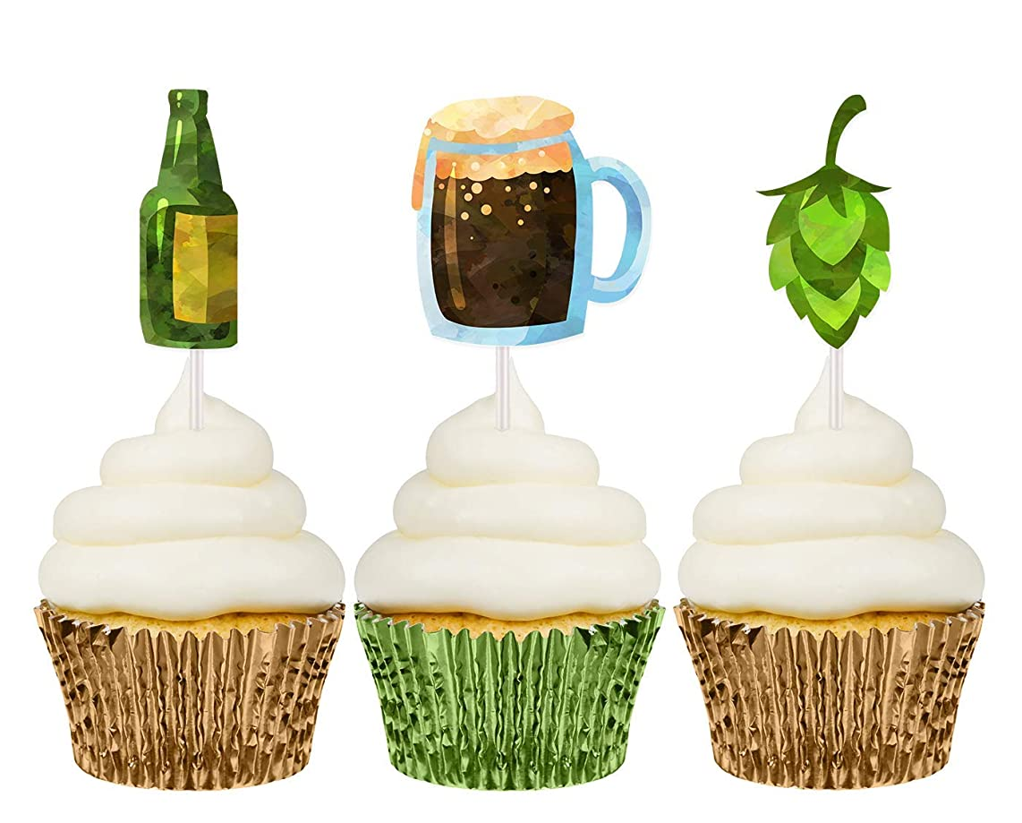 Manly beer cupcake topper picks 12 ct - Boy birthday party decorations and supplies - Handmade in the USA