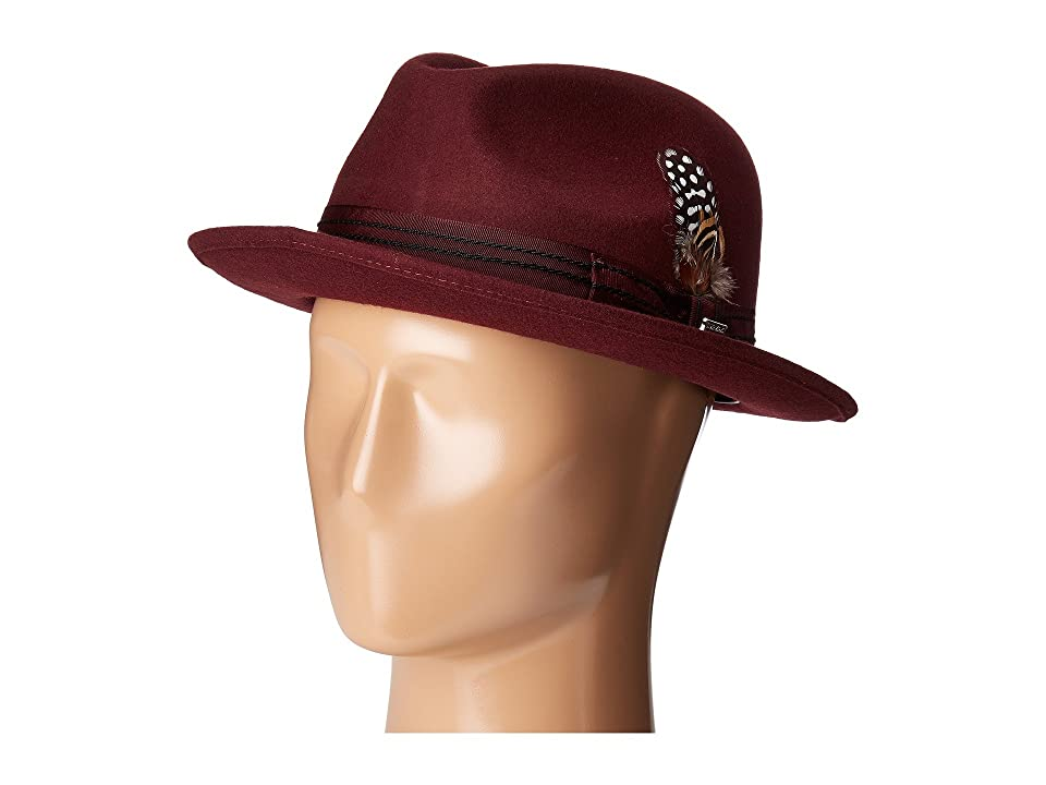 8e597705333e4 Stacy Adams Pinched Fedora with Stitched Band (Burgundy) Fedora Hats