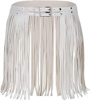 Women's Adjustable Faux Leather Waistband Fringe Tassel Skirt Belt