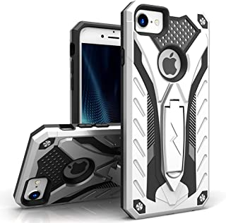 ZIZO Static Series Compatible with iPhone 8 Case Military Grade Drop Tested with Built in Kickstand iPhone 7 iPhone 6s Case Silver Black