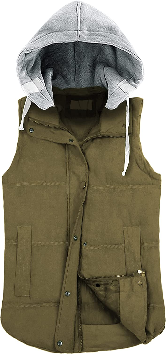 SCUSTY Women's Quilted Padded Puffer Vest Gilet Winter Coat with Removable Hood