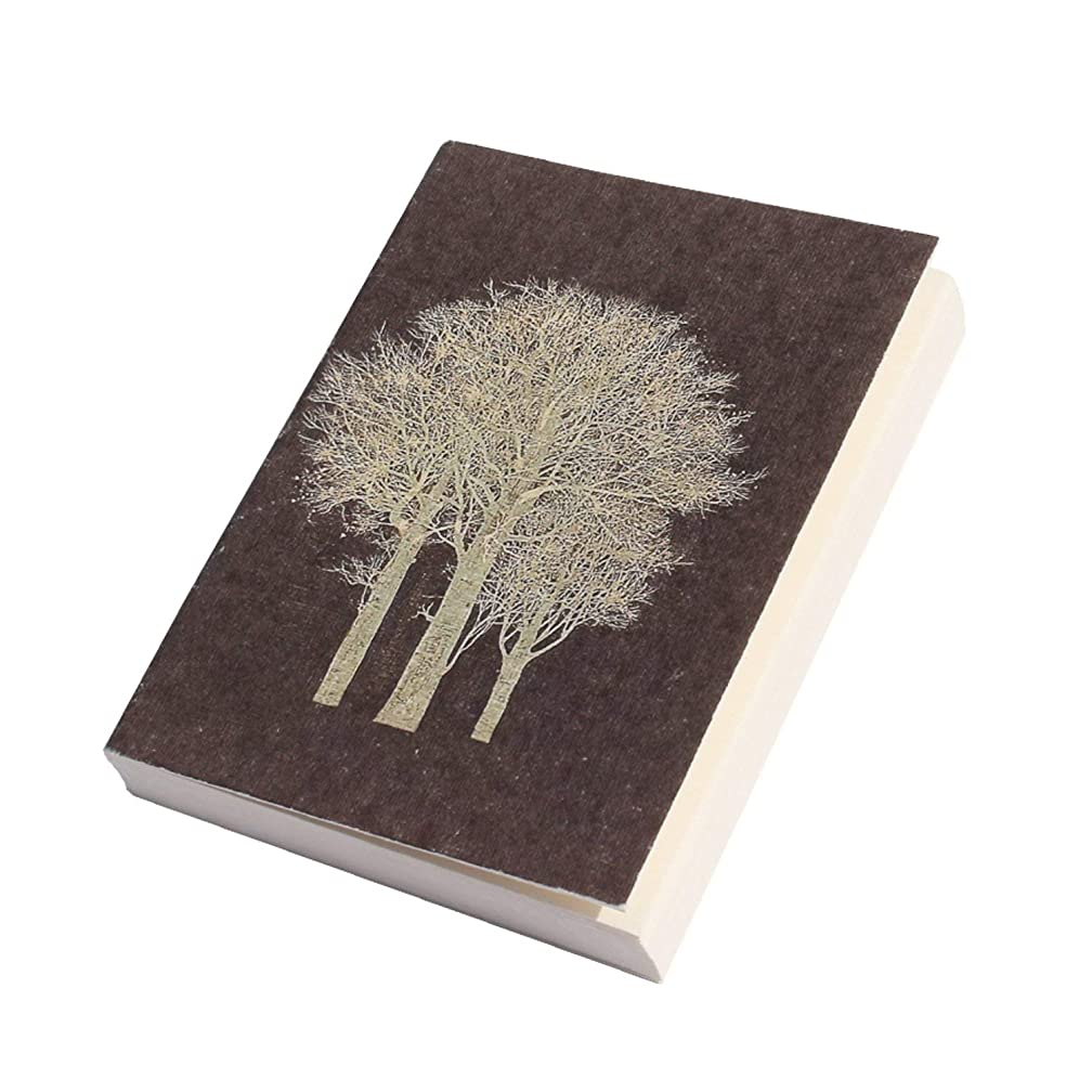 Handmade Pocket Diary,Ancient Japanese Tree Art, Eco-Friendly, Acid-Free Handmade Paper, Flat Open, Soft Cover, A7 Size, 125 GSM, 100 Blank Pages (Set of 2)