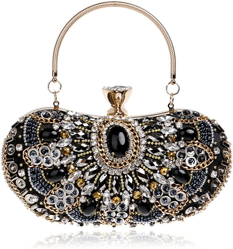 Womens Gorgeous Luxury Clutches and Evening Bags Bling Rhinestone Crystal Rivet with Chain Handbag Wedding Purse