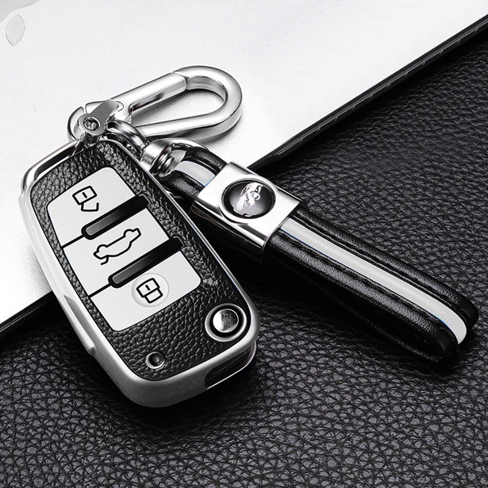 ontto for Audi Key Fob Cover with Keychain TPU Key Case PU Leather Key Holder for Audi A1 A3 Q3 Q7 R8 A6L TT Remote Flip Keyless Key Shell Green