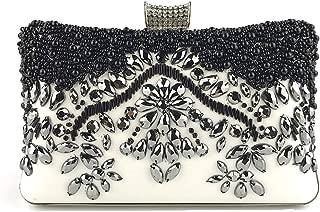 Bead Evening Clutches Black White Rhinestone Sequins Evening Handbag Chic Elegant Handmade Envelope Bridal Purses for Wedding Party for Women Girls