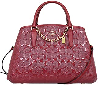 Coach Small Margot Carryall In Signature Debossed Leather F55451 Dark Red