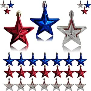 30 Pieces 4th of July Star Ornaments,Independence Day Star Hanging Ornaments for Patriotic Day Labor Day Memorial Day Christmas Tree Decor (Red Blue and Silver)