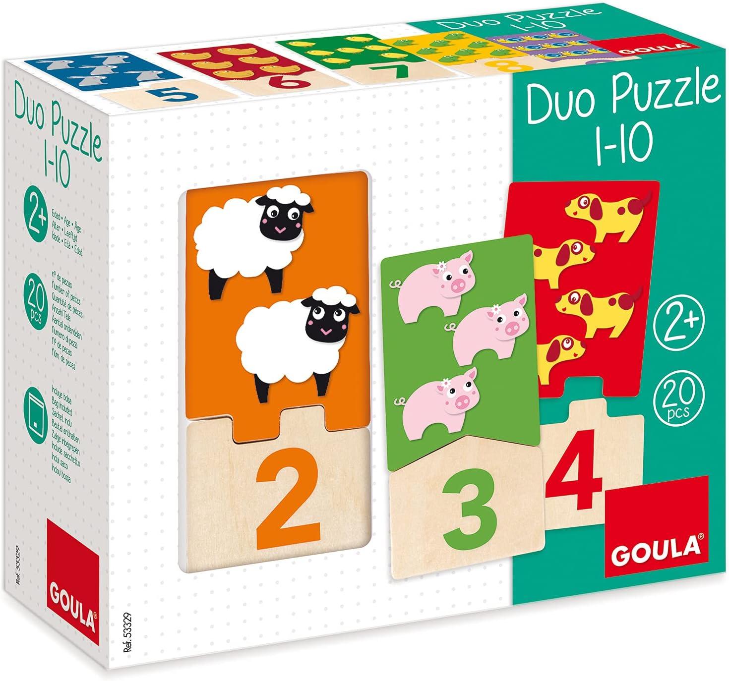 Goula - Duo puzzle 1-10 - Puzzle de madera para aprender los números para niños a partir de 2 años