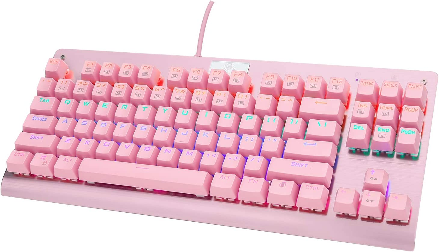 HUO JI E-Yooso Z-77 Mechanical Gaming Keyboard with Rainbow LED Backlit, Red Switches, Tenkeyless 87 Keys Anti-Ghosting for Mac, PC, Pink