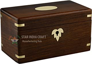 STAR INDIA CRAFT Handmade Rosewood Secret Enigma Puzzle Box with Hidden/Secret Compartment by, Wooden Brainteaser Puzzle Box - A Perfect Puzzle Box to gift your loved ones (Natural Brown)