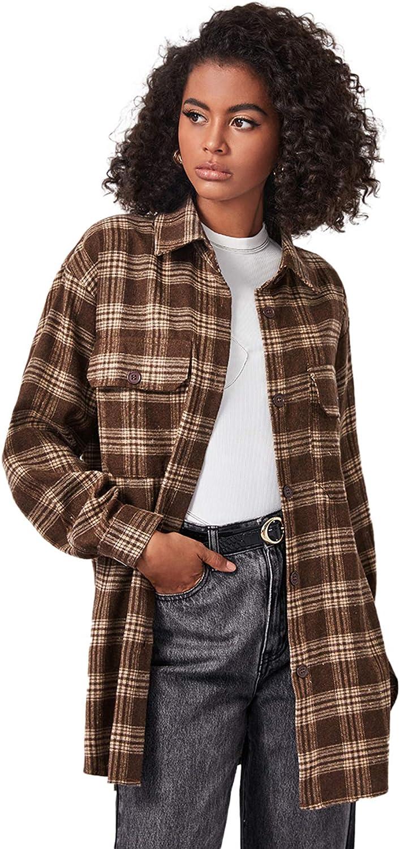 Verdusa Women's Drop Shoulder Button Down Plaid Shirt Blouse Longline Top