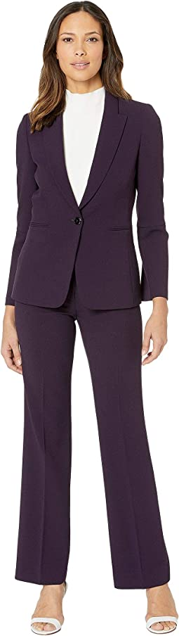 Pebble Crepe Pants Suit with Sleeve Detail