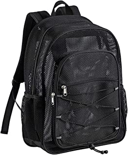 Heavy Duty Mesh Backpack,  See Through College Student Backpack,  Semi-transparent Mesh Bookbag with Bungee and Comfort Padded Straps for Commuting,  Swimming,  Beach,  Outdoor Sports