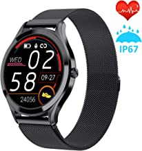 """Smart Watch for Men,1.3"""" Full Touch Color Screen Fitness Tracker Compatible with iOS and Android Phone,IP67 Waterproof Activity Tracker with Heart Rate Sleep Monitor Step Counter (Black)"""