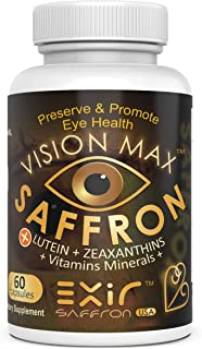 Vision Max® Saffron Plus Lutein, Zeaxanthin, Meso-Zeaxanthin Grape Seed Extract + AREDS 2 Vitamin, Minerals | Potent Fine Quality Unique Supplement Macula, Eye & Vision, 60 Capsules