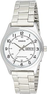 ساعة كاسيو لون فضي من الستانلس ستيل للرجال MTP-V006D-7B2UDF