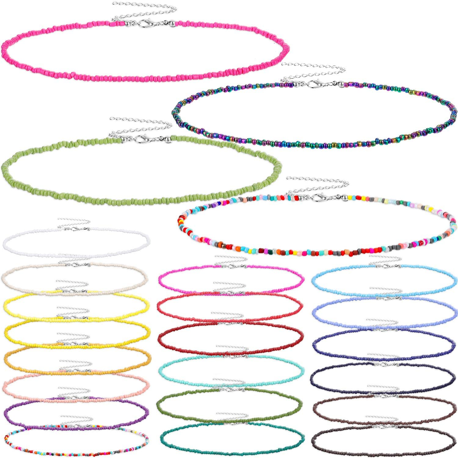 24 Pieces Seed Bead Choker Boho Beads Choker Necklace Colorful Bead Necklace for Women Girls