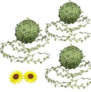 BronaGrand 40M Olive Green Leaves Leaf Trim Ribbon for DIY Craft Party Wedding Home Decoration