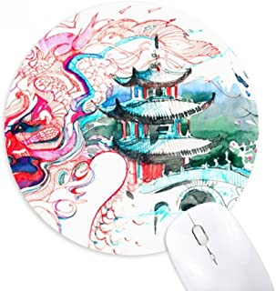 China Chinese Dragon Bridge Drawing Round Non-Slip Rubber Mousepad Game Office Mouse Pad Gift