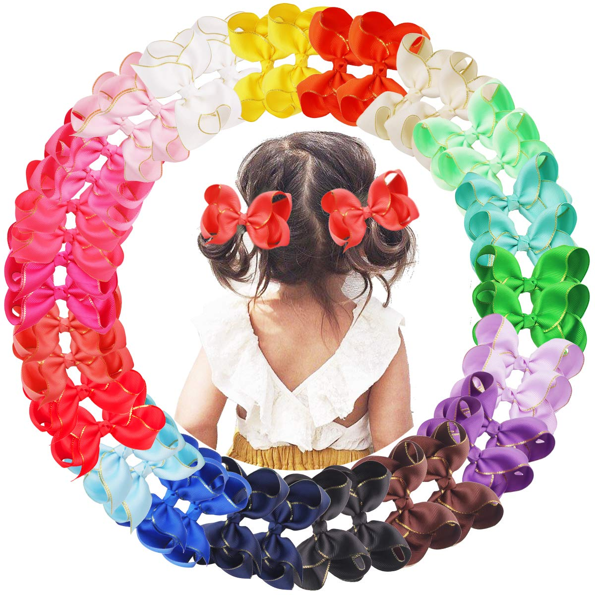 40PCS Baby Girls Hair Bow Clips I Edge Over Houston Mall item handling Ribbon Gold 4.5 Grosgrain
