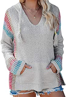 Ferbia Women Mexican Baja Pullover Sweater Boho Hooded Hoodie Colorblock Striped Lightweight Knit Poncho