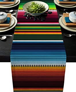 ARTSHOWING Mexican SeTable Runner Rustic Table Decoration, Colorful Stripes Rectangular Runner for Party Decoration Weddin...